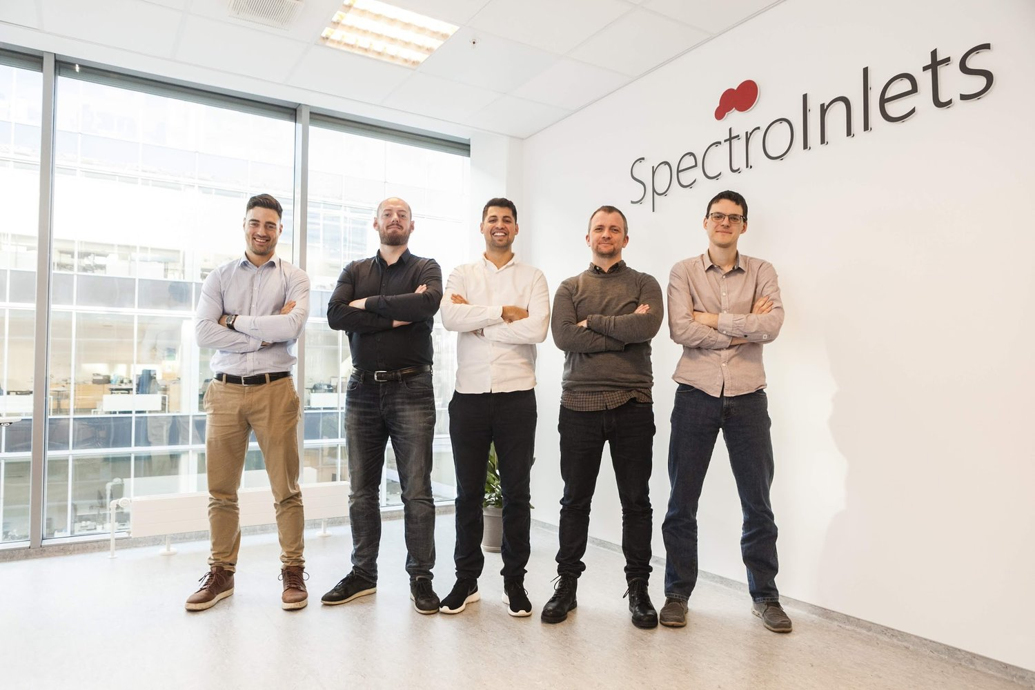 The Spectro Inlets team in the headquarters in Copenhagen. From left to right: Filippo Cavalca, Daniel Trimarco, Anil Thilsted, Kenneth Nielsen, Bela Sebok.