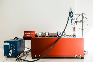 The system contains a BioLogic SP-200 potentiostat, an embedded mass spectrometer, and all the glassware to to perform electrochemistry